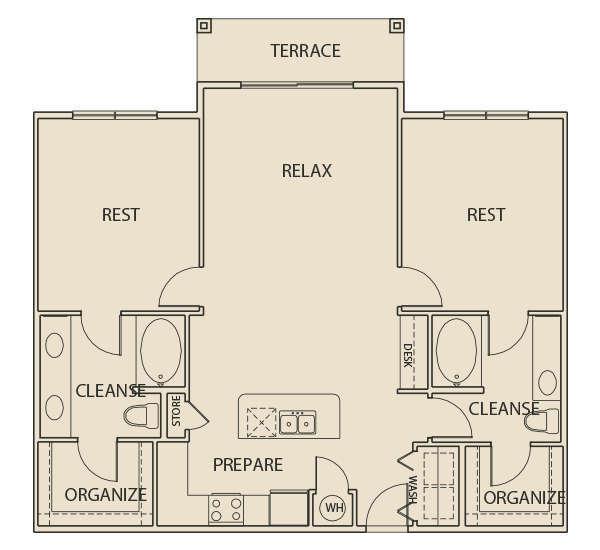 1,238 sq. ft. B2T floor plan