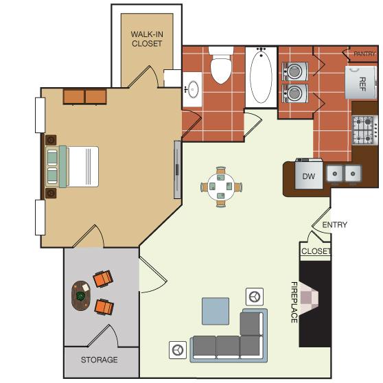 618 sq. ft. 1C floor plan