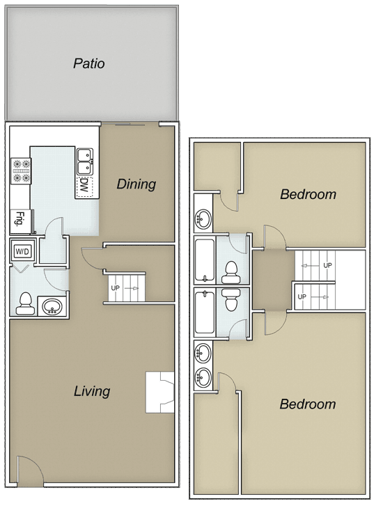 1,387 sq. ft. C/D floor plan