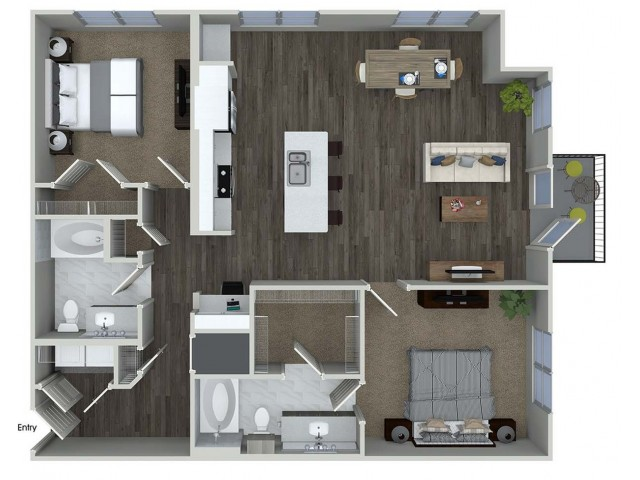 1,245 sq. ft. B7 floor plan