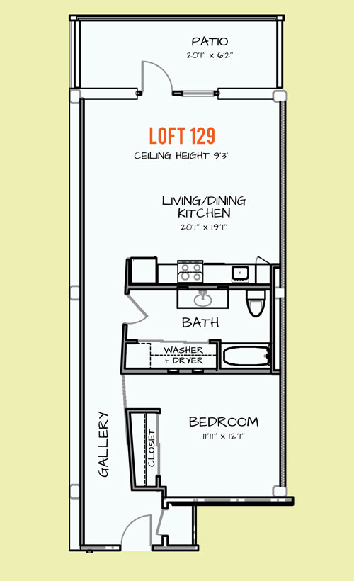 850 sq. ft. 402 floor plan