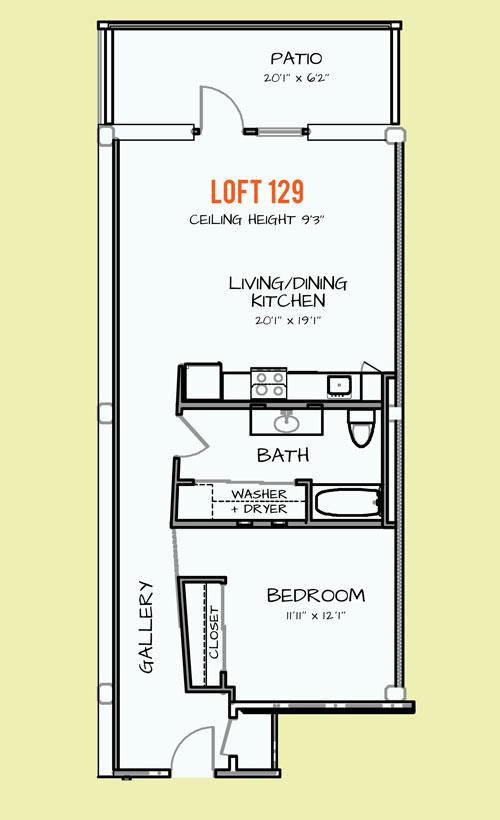 850 sq. ft. 402 floor plan