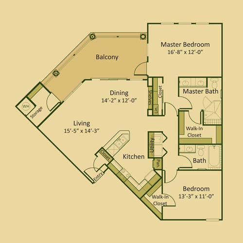 1,270 sq. ft. 2B floor plan