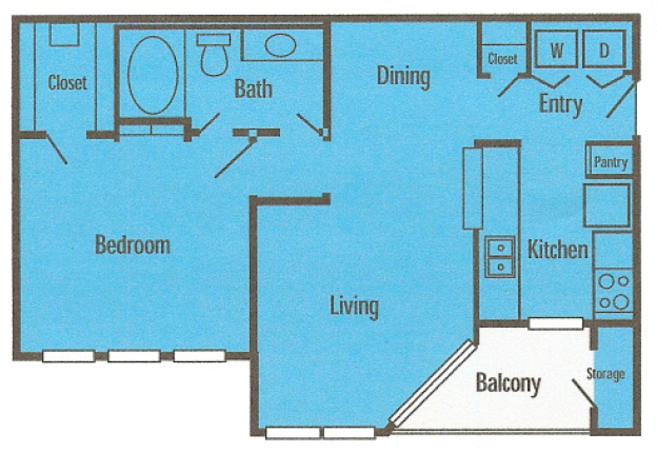 653 sq. ft. A1P floor plan