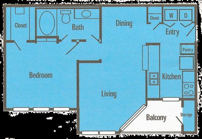653 sq. ft. A1P floor plan