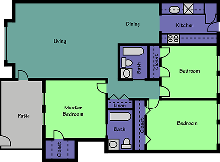 1,117 sq. ft. floor plan