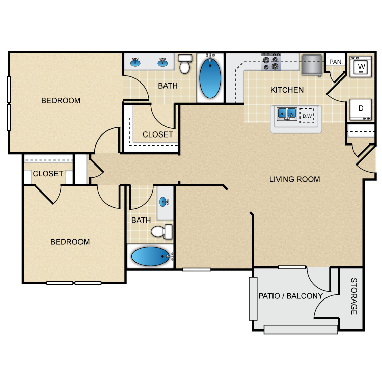 1,170 sq. ft. B3G floor plan