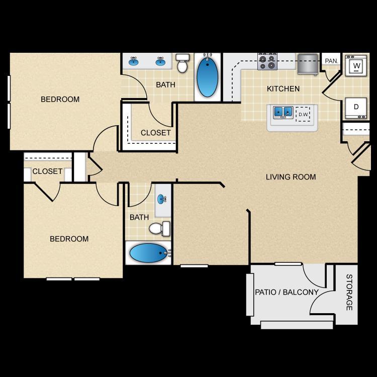 1,170 sq. ft. B3G floor plan