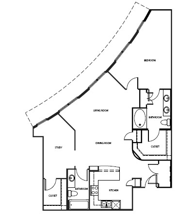 702 sq. ft. 2A1BAH floor plan