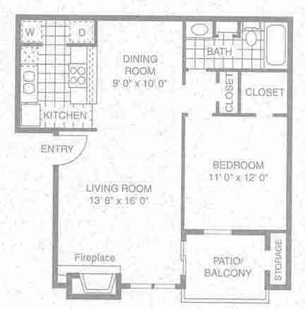 722 sq. ft. A-3 floor plan