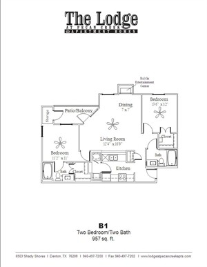 957 sq. ft. B1 floor plan