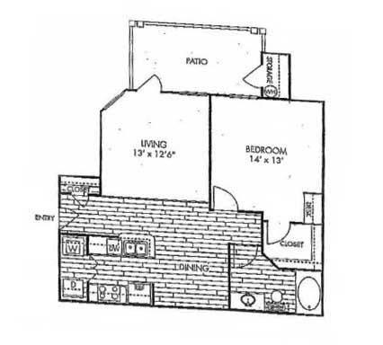 805 sq. ft. A4 floor plan