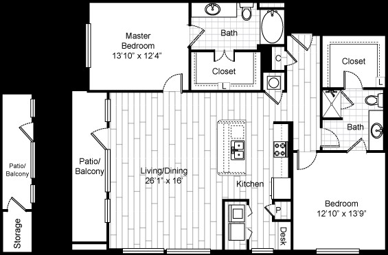 1,489 sq. ft. B9 floor plan