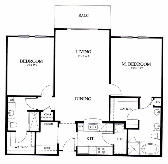 1,284 sq. ft. B4 floor plan