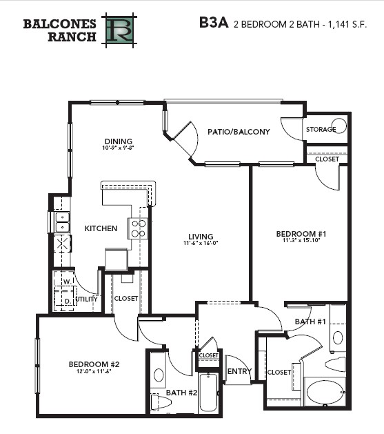 1,123 sq. ft. to 1,141 sq. ft. Diamond floor plan