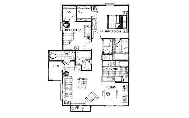 902 sq. ft. COTTAGE floor plan