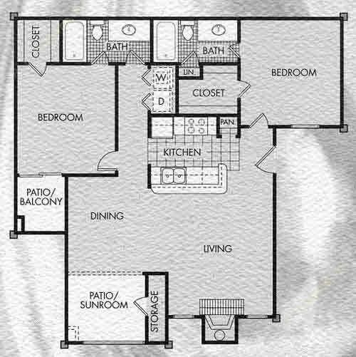 1,145 sq. ft. Canterbury floor plan
