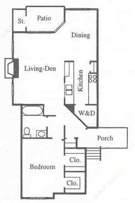 890 sq. ft. A3 floor plan