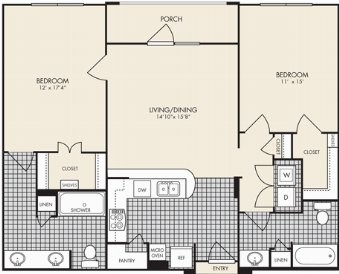 1,150 sq. ft. Tuscany floor plan