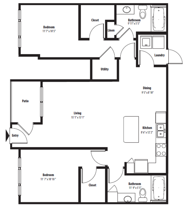 1,086 sq. ft. B2U floor plan