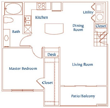 805 sq. ft. A5 floor plan