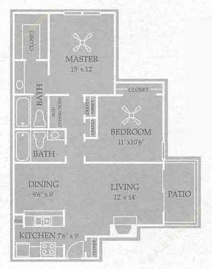 1,076 sq. ft. Swaney floor plan