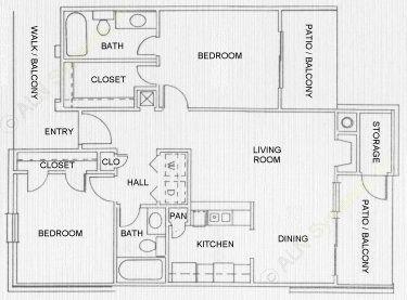 907 sq. ft. St Tropez floor plan