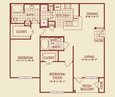 1,252 sq. ft. B2 floor plan