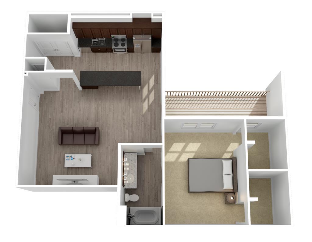 902 sq. ft. Mercedes floor plan