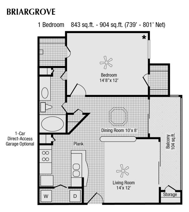 739 sq. ft. to 843 sq. ft. D floor plan