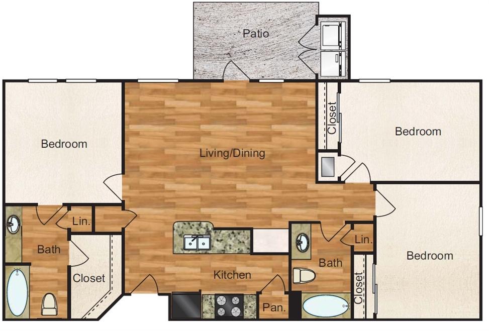 1,150 sq. ft. Grande floor plan