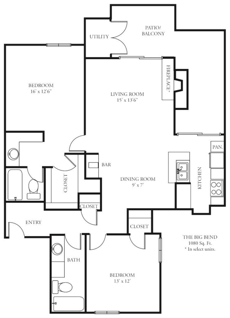 1,080 sq. ft. B4 floor plan