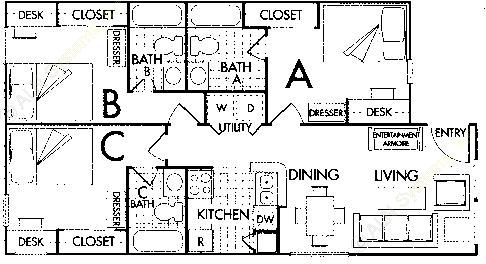 988 sq. ft. C2 floor plan
