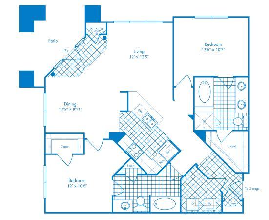 1,169 sq. ft. Galapagos floor plan