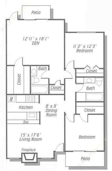 1,192 sq. ft. B5/B8/B9 floor plan