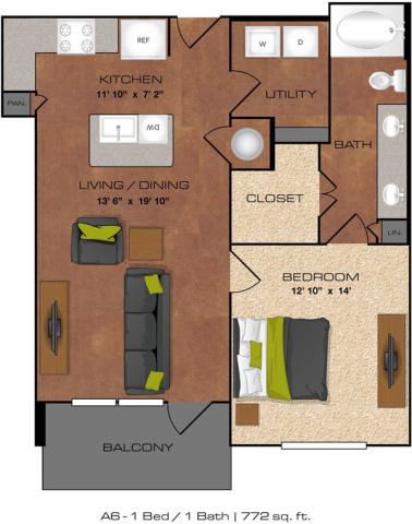 772 sq. ft. A6 floor plan