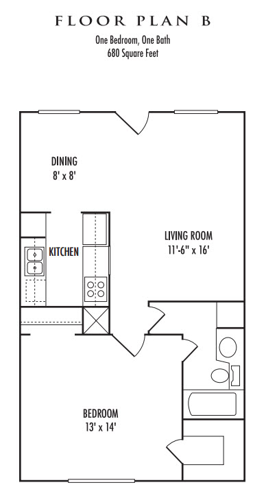 680 sq. ft. B floor plan