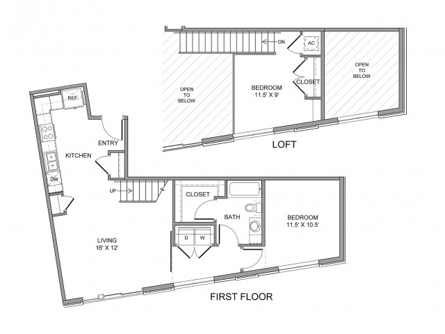 840 sq. ft. Farmers floor plan