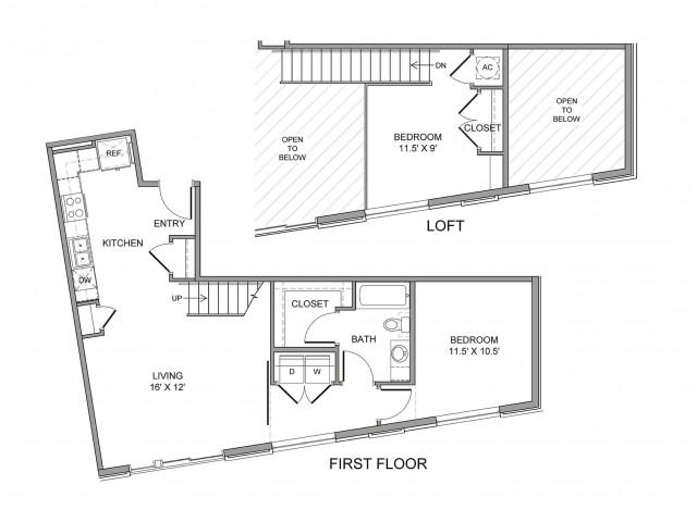 840 sq. ft. Farmers floor plan
