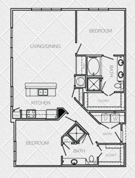 1,291 sq. ft. to 1,293 sq. ft. C6A floor plan