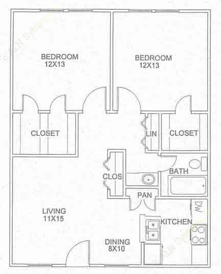850 sq. ft. B-1-D floor plan