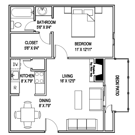 610 sq. ft. C floor plan
