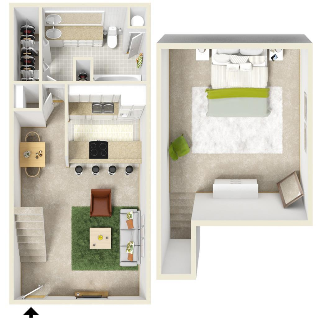 690 sq. ft. A-1 Loft floor plan