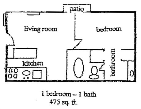 475 sq. ft. floor plan