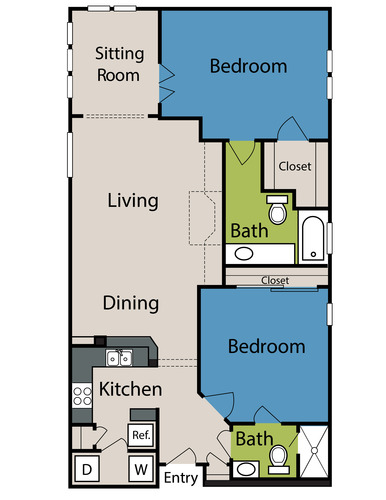 1,131 sq. ft. to 1,141 sq. ft. floor plan