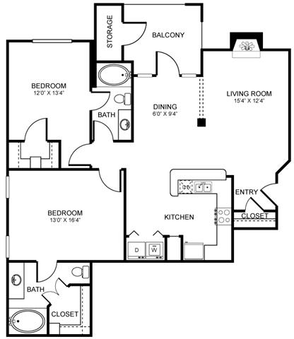 1,226 sq. ft. D6 floor plan