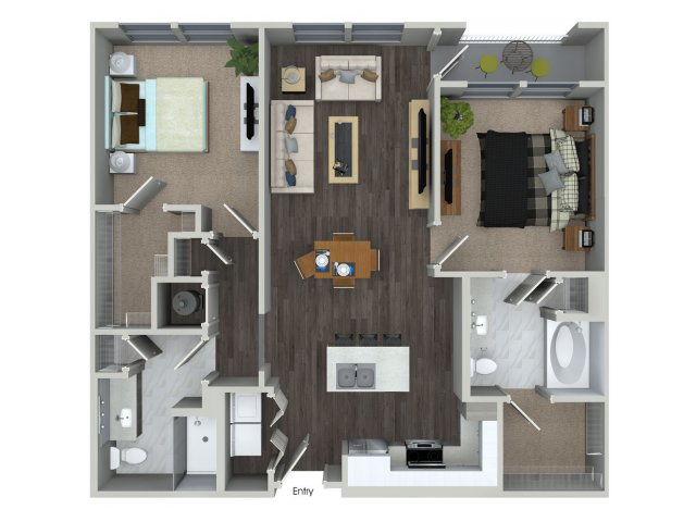 1,069 sq. ft. B1.2 floor plan