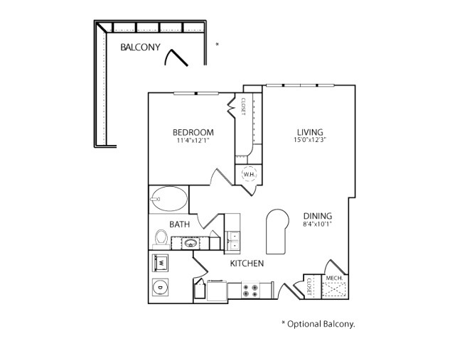 787 sq. ft. A1A floor plan