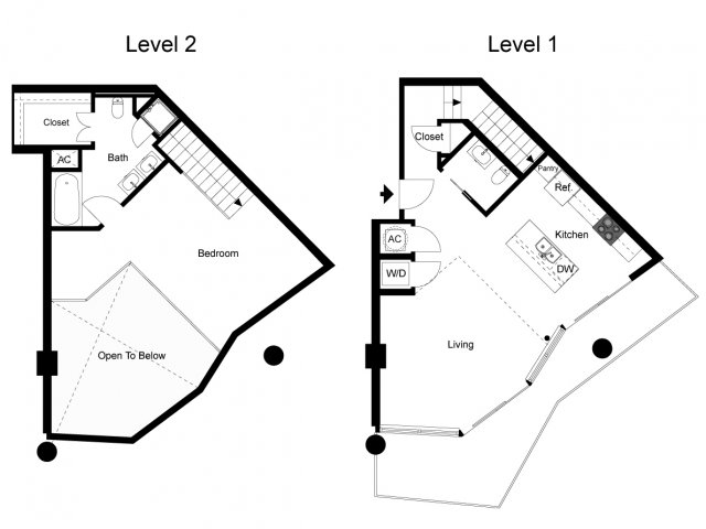 1,074 sq. ft. Loft 1H floor plan