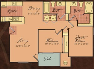 1,031 sq. ft. Picasso/60% floor plan